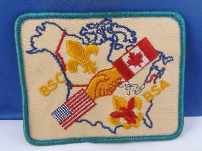 Boy Scouts Bsa Bsc Canada Usa Flag Hand Shake  Patch Vintage Badge Crest