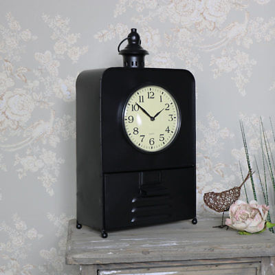 Retro industrial mantel desk shelf clock drawer storage vintage style gift idea