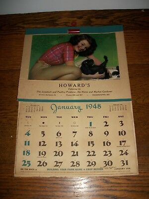 Vintage Howards Catering Calendar Hagerstown Md. Maryland 1948