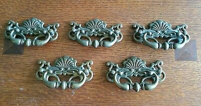 Lot of 5 Antique Brass Ornate Chippendale Drawer Pulls Cabinet Bail Handles