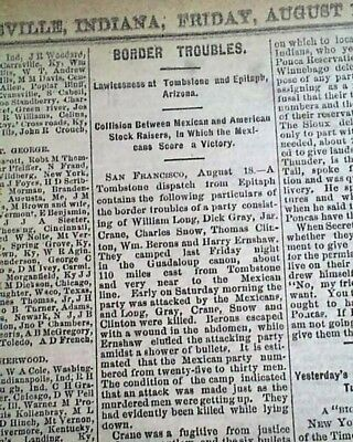 GUADALUPE CANYON MASSACRE The Clantons Mexicans EARP in Arizona 1881 Newspaper