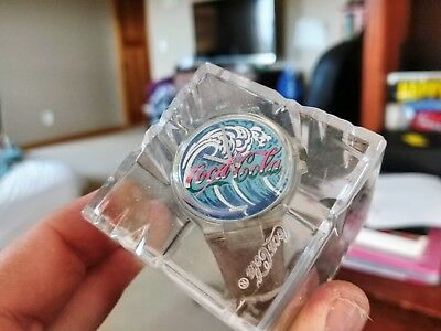 Coca-Cola Swiss watch SURFING BIG WAVE   COLLECTORS  w/  Box  COKE VINTAGE $$