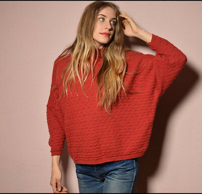 Vtg 90s textural brick knit FORENZA made in Italy MINIMALIST cocoon sweater SML