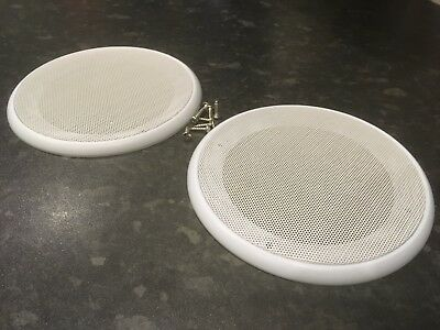 Pair of White Universal Speaker Covers Metal Waffle Cover Guard Grill