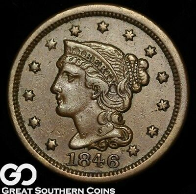 1846 Large Cent, Braided Hair, Small Date