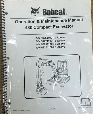 Bobcat 430 Excavator Operation & Maintenance Manual Operator/Owner's 1 # 6902316