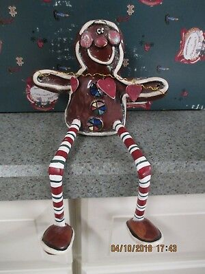 2001 Heather Goldminc Blue Sky Clayworks  Mr. Gingerbread Cookie Shelf Sitter