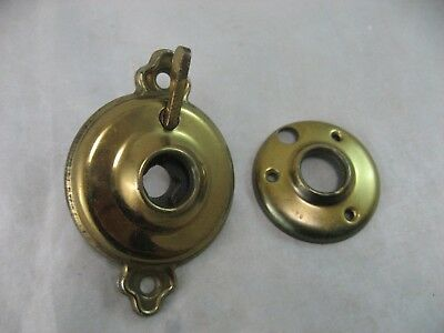 Door Knob Lock Escutcheon Backplate Vintage Hardware Brass tone Round 2 1/4""