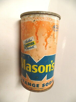 Vintage Mason's Orange Soda Pop Flat Top Can Mason Bev Chicago Illinois Ill Il