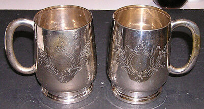 Antique Crescent SP Co. E.P.N.S. Heavily Silver Plated Drinking Tankards Pair