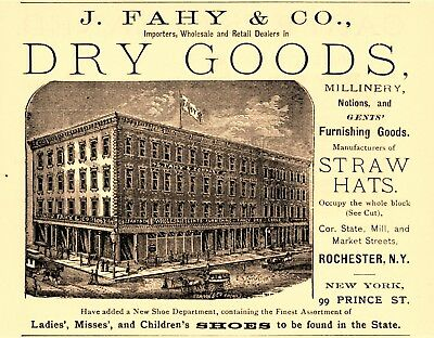 1883 J. Fahy Dry Goods & Millnery, Rochester, New York Advertisement