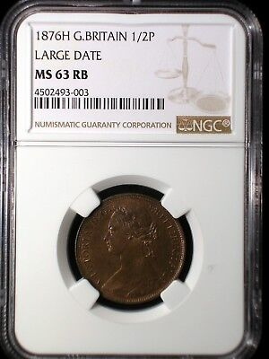 Great Britain 1876H 1/2 Penny *NGC MS-63RB* Scarce Date Only 2 Graded Higher