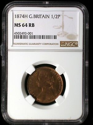 Great Britain 1874H 1/2 Penny *NGC MS-64RB* Scarce Date Only 4 Graded Higher