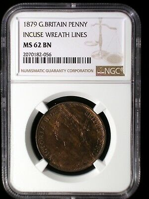 Great Britain 1879 Penny *NGC MS-62* Scarcer Incuse Wreath Lines Low Minimum