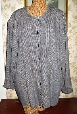 Flax Black & White Houndstooth Linen Long Sleeve Top Blouse Size Large