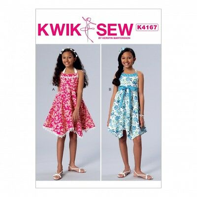 Free Uk Pp Kwik Sew Girls Easy Sewing Pattern 4167 Halter Neck