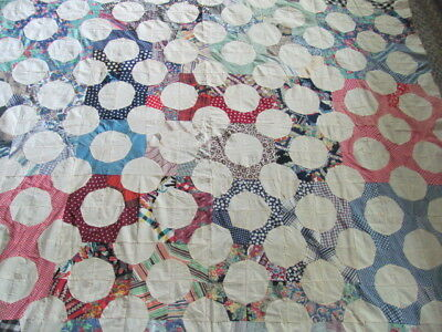 1930's era hand stitched Bow Tie Snowball quilt top some feed sack cotton