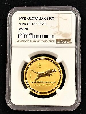 Australia   1998 Lunar Year Of The Tiger $100 Gold 1 Ounce  Ngc Ms 70  Series 1