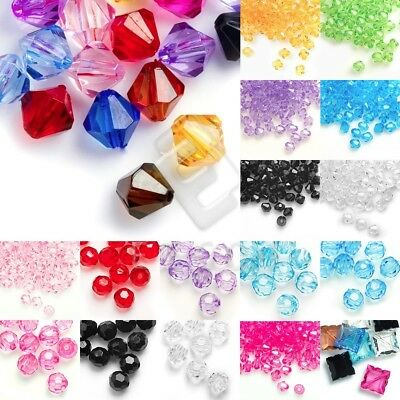 Acrylic Transparent Bicone Beads Faceted Jewelry Making 4/8/10/12mm Lots YBAR2