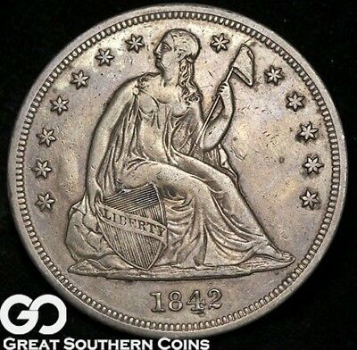 1842 Seated Liberty Dollar, Sought After Silver Dollar Series ** Free Shipping!