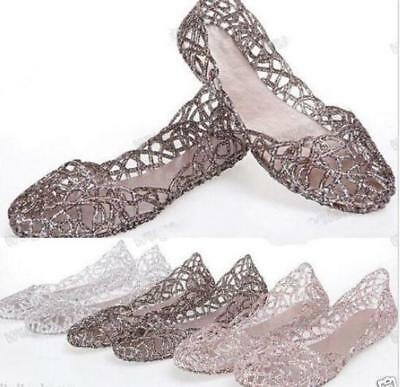 Womens Hot Sale Ventilate Crystal Shoes Jelly Hollow Sandals Flat Shoes Plus siz