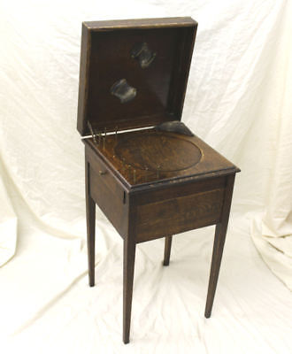 Antique Oak Sewing Box Stand - Storage Drawers Spool Thread Dispensers - Unique