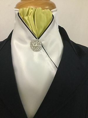 HHD 'The Royal' Pretied Stock Tie Silver Spot Mint Green /& Navy