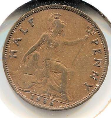Great Britain 1936 Half Penny Coin - United Kingdom England King George V
