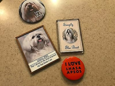 Lhasa Apso Dog Items 2 Magnets And 2 Buttons I Love Lhasa Apsos