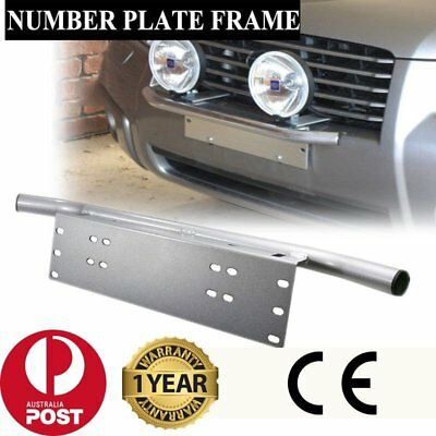 Number Plate Frame BullBar Mount Bracket Car Driving Light Bar Holder Silver BG