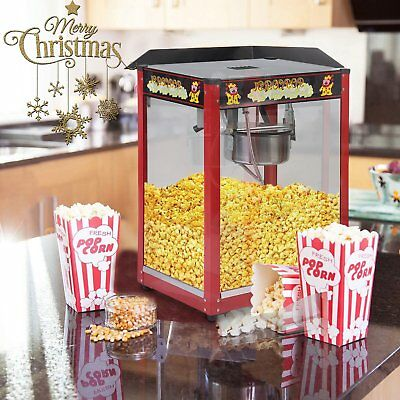 1370W Commercial Stainless Steel Popcorn Machine Red Pop Corn Warmer Cooker AUY