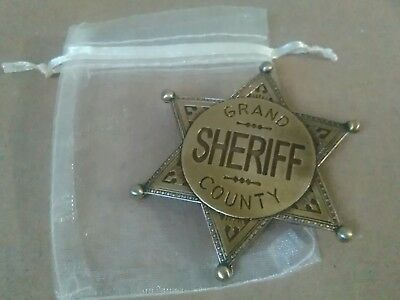 Gold Grand County Sheriff Badge  -  Solid Metal Replica With A Organza Gift Bag