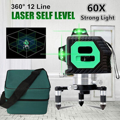 3D Green 8v4h Laser Level 12 Lines 360° Horizontal & Vertical Cross Build Tool