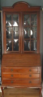 Edwardian Bureau Bookcase ~ Mahogany Original Glass Queen Anne Legs ~ Circa 1910