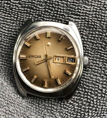 Vintage Very Rare Day Date Enicar Automatic Swiss Made  Mens  Wrist Watch