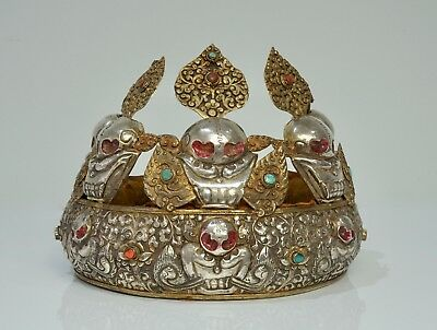 Fine Silver and Gilt Skull Oracle Crown - Tibet