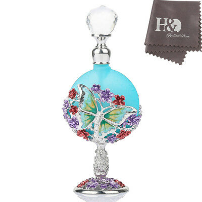 Vintage Butterfly Blue Glass Metal Flowers Empty Perfume Bottle Party Lady Gifts