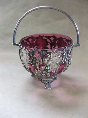 Antique Cranberry Glass Sugar Bowl with Silver? Holder ~ Grapes & Leaves ~Marked