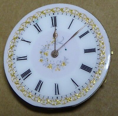 Colourful pocket fob watch movement, signed, 36mm, runs but stops.