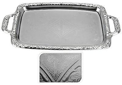 Engraved Silver Coloured Metal Tray Silver Serving Tray Tea Tray with Handles