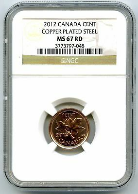 2012 Canada Cent Ngc Ms67 Rd Magnetic Steel High Grade Last Year Of Issue Rare!!