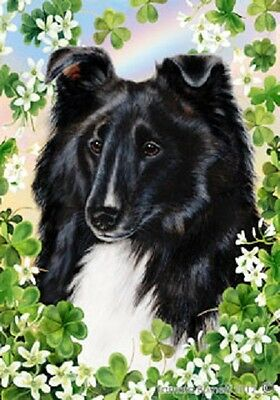 Large Indoor/Outdoor Clover Flag - Black & White Shetland Sheepdog 31228