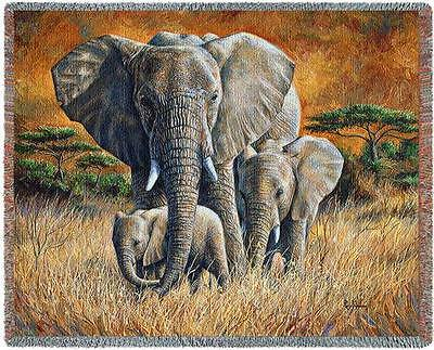 Throw Tapestry Afghan - Loving Mother (Elephant) 4743