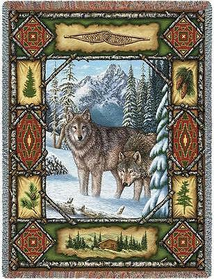 Throw Tapestry Afghan - Wolf Lodge 1099