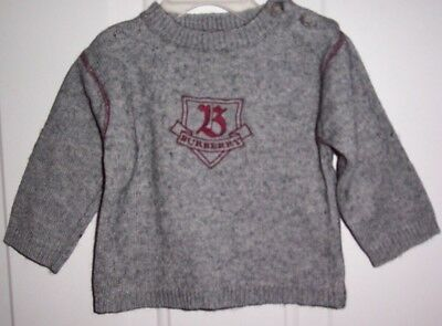 Burberry Gray Sweater Embroidered Logo Baby Boy Size 9 Months, EC