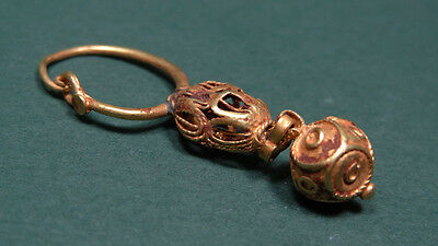 Ancient Gold Earring With Open Work Cage Shaped Bead Byzantine 400-700 Ad