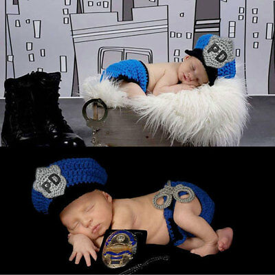 Newborn Baby Boy Girl Crochet Knit Costume Photo Photography Prop Outfits Police