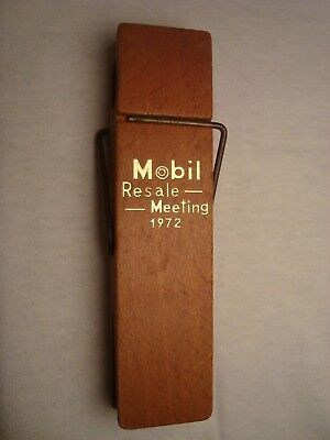 Awesome vintage 1972 MOBIL OIL Resale Meeting wooden paper clip large clothespin