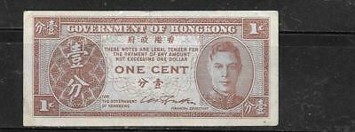 Hong Kong #321 1945 Cent Vf Circ Old Wwii Banknote Paper Money Currency Note