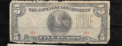 PHILIPPINES #107a 1942 5 PESO AG CIRCULATED DAMAGED OLD BANKNOTE PAPER MONEY